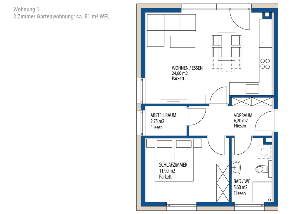 2 Zimmer Gartenwohnung: ca. 51 m² WFL